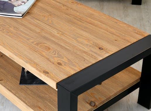 Table basse rectangulaire deux plateaux bois et metal style industriel