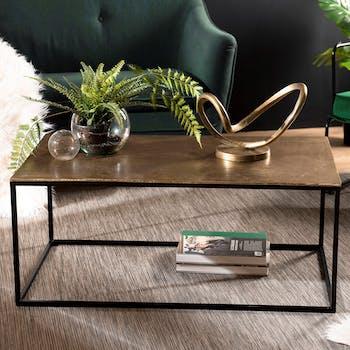 Table basse rectangulaire en metal dore et noir de style contemporain