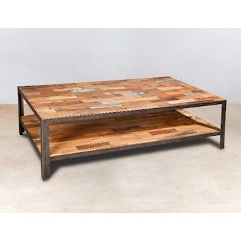 Table basse rectangulaire en bois recycle et metal de style industriel