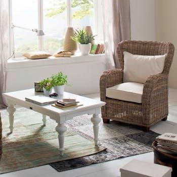 Table rectangulaire en bois blanc de style bord de mer