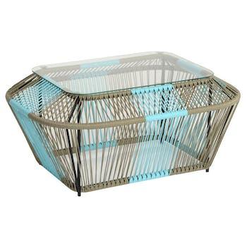 Table basse rectangulaire en métal et verre, turquoise et naturel 88x60x40cm