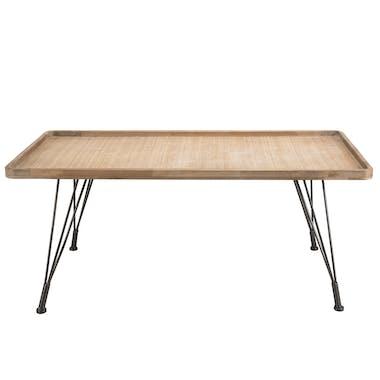 Table basse rectangulaire métal et cannage BILBAO