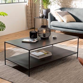 Table basse rectangulaire en metal noir deux plateaux de style contemporain