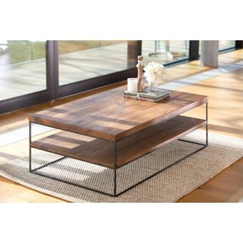 Table basse en bois massif chene et metal deux plateaux de style contemporain