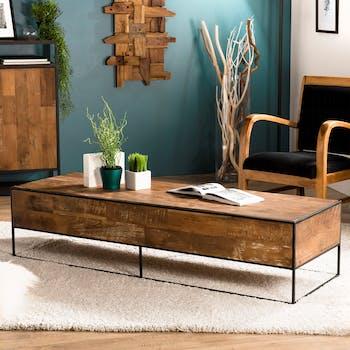 Table basse rectangulaire en bois recycle et metal de style contemporain
