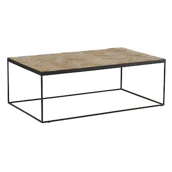 Table basse rectangulaire en bois et metal noir de style exotique
