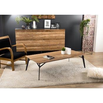 Table basse rectangulaire en bois pieds metal de style contemporain