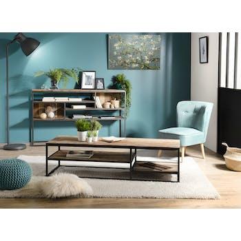 Table basse rectangulaire destructuree en bois recycle et metal de style contemporain