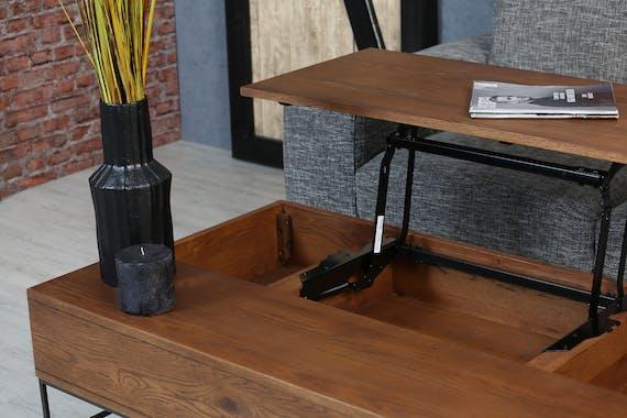 Table basse relevable rectangulaire en chêne massif OKA