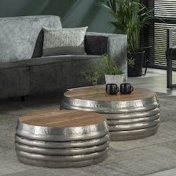 Tables rondes gigognes en bois et metal de style industriel