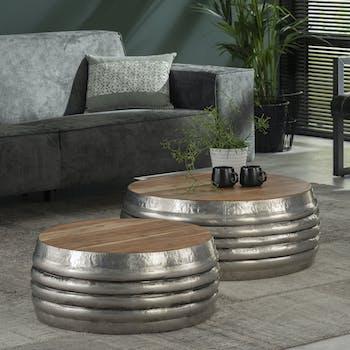 Table basse ronde bois acier motif relief (2 pièces)