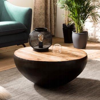 Table basse ronde en bois et metal noir de style industriel