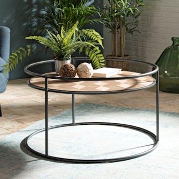 Table basse ronde en bois pieds metal de style industriel
