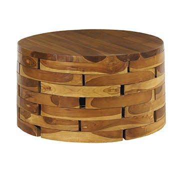 Table basse ronde en bois de style exotique