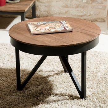 Table basse ronde en bois recycle et metal de style contemporain