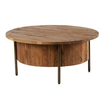 Table basse ronde en bois massif et metal de style exotique