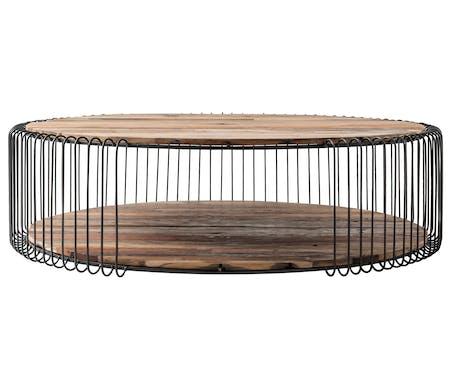Table basse ronde bois recyclé de bateau métal 130 cm AUCKLAND