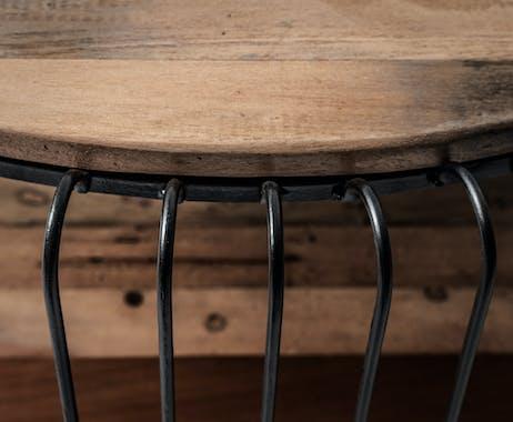 Table basse ronde bois recyclé de bateau métal 80 cm AUCKLAND