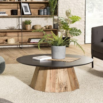 Table basse ronde bois recyclé pin CRACOVIE