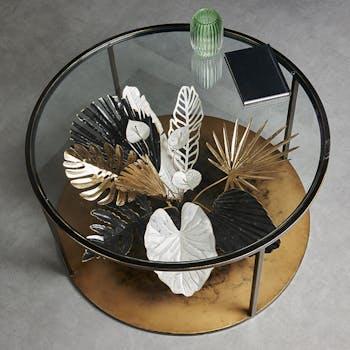 Table basse ronde bouquet noir et or