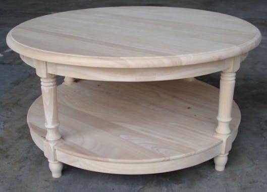 Table basse ronde double plateau hévéa D80cm TRADITION