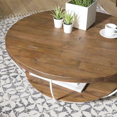 Table basse ronde double plateau métal blanc D 80 cm SWING