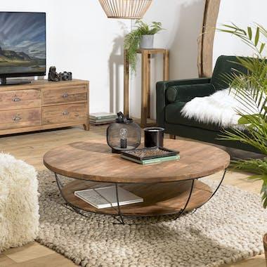 Table basse ronde double plateau métal noir D 120 cm SWING