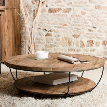 Table basse ronde en bois recycle et metal noir style contemporain