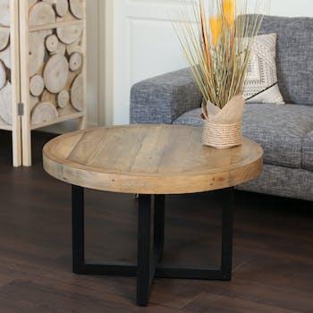 Table basse ronde en bois recyclé D 80 cm BRISBANE