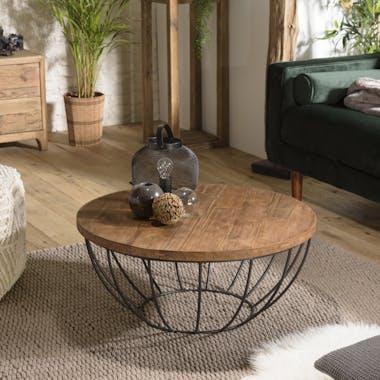 Table basse ronde en teck recyclé et métal D80cm SWING
