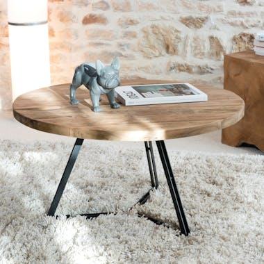 Table basse ronde en bois recycle et metal de style contemporain