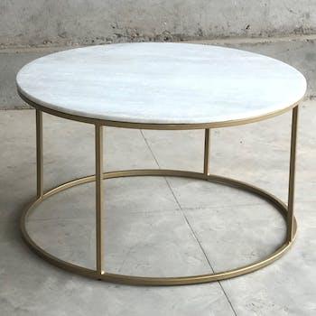Table basse ronde marbre blanc laiton TORANO