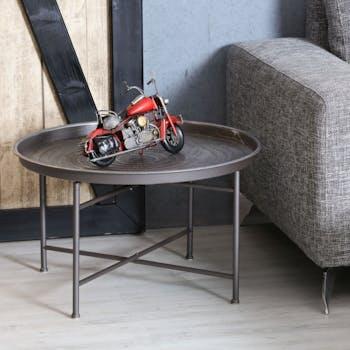 Table basse ronde en metal de style oriental