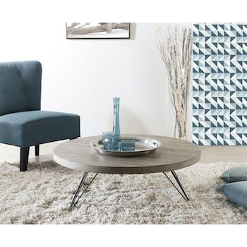 Table basse ronde en bois pieds metal epingles de style contemporain