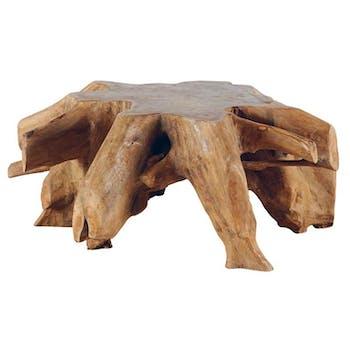 Table basse en bois de racine de style exotique