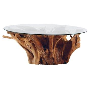 Table basse en bois de racine plateau verre de style exotique