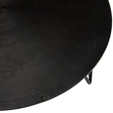Table basse ronde noire rainures pieds épingle ZALA