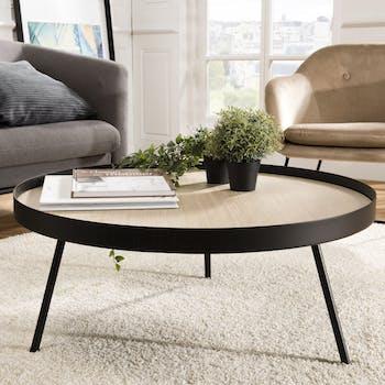 Table basse ronde plateau effet bois clair BANGALORE