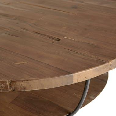 Table basse ronde teck recyclé et métal double plateau D80cm SWING