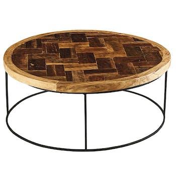 Table basse ronde en bois et metal noir de style exotique