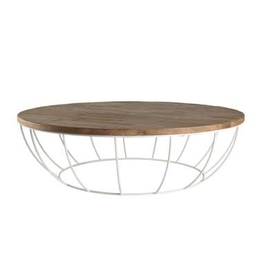 Table basse ronde teck recyclé métal blanc D 120 cm SWING