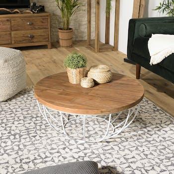 Table basse ronde teck recyclé métal blanc D 80 cm SWING