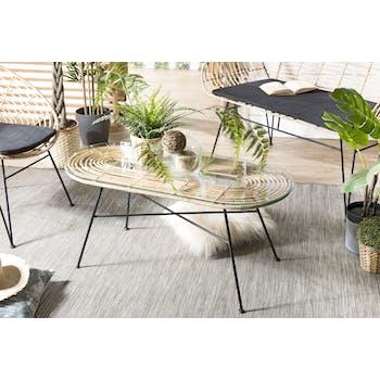 Table basse ovale en rotin et verre de style exotique