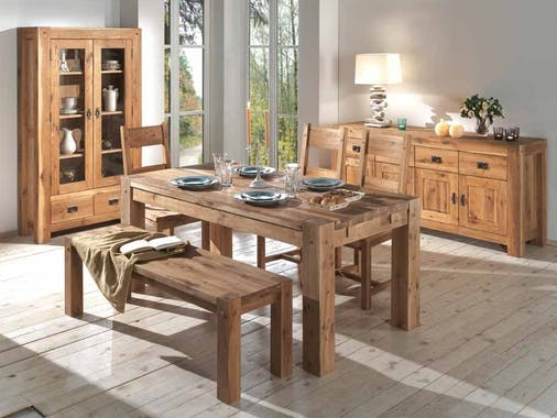 Table basse rectangulaire en bois double plateau de style campagne