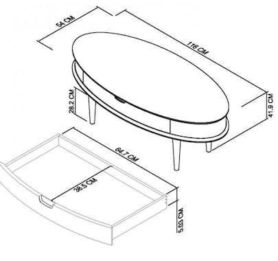 Table basse scandinave avec tiroir COPENHAGUE