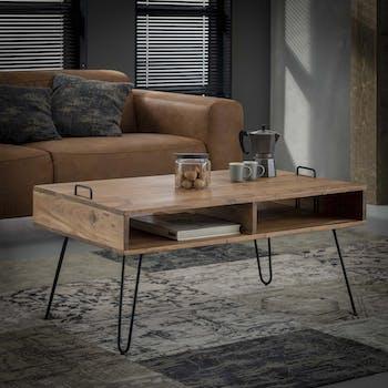 Table basse rectangulaire bois et pieds metal epingle style vintage