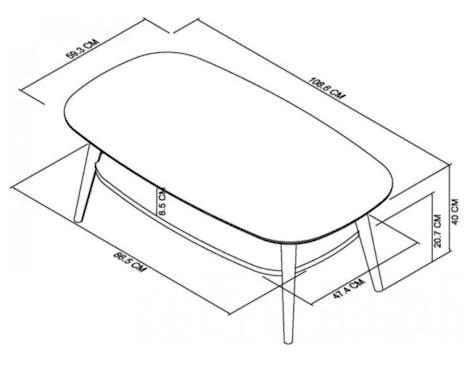 Table basse scandinave double plateau COPENHAGUE