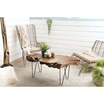 Table basse bois tronc arbre et metal style exotique