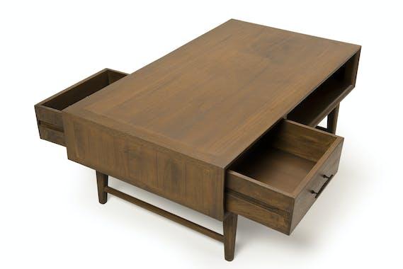 Table basse vintage 2 tiroirs 1 niche PADANG