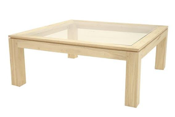 Table basse vitrée hévéa 100X100cm HELENA